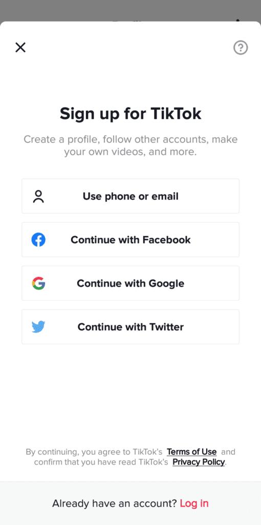Create a TikTok account