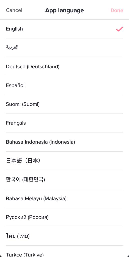 Change TikTok language