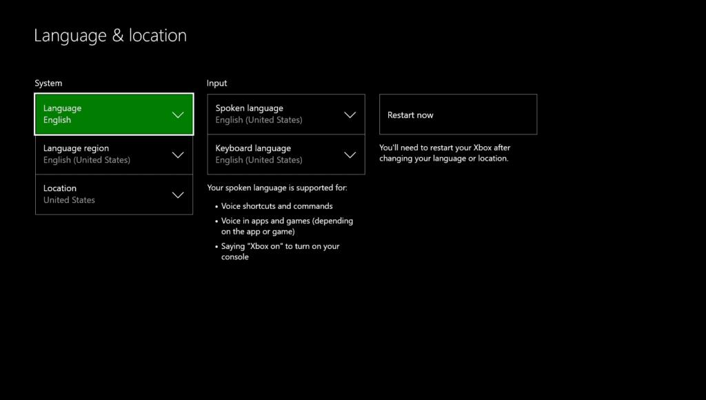 xbox language and location settings