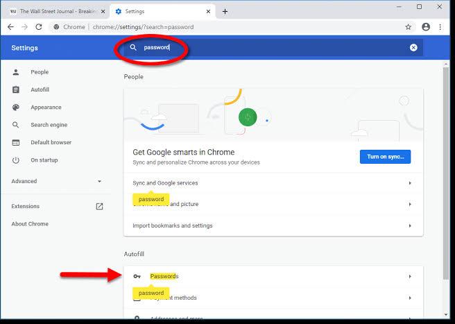 Google chrome saved passwords